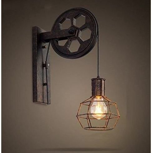 L mpara industrial polea de elevaci n l mparas estilo industrial - Como hacer lamparas de techo artesanales ...