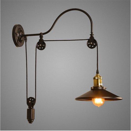 Lámpara estilo industrial polea de elevación